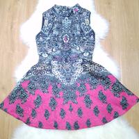 Summer Autumn New Arrival Disigner Luxury Women Europe Style Fashion Totem Print Rivet O Neck Mini Umbrella SleevelessTank Dress