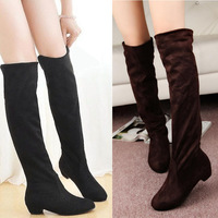 Botas New Autumn Boots Women Shoes Long Over Knee High Boots Round Toe Lace Botas Fashion Sexy Ladies Shoes Flat Heel Boots