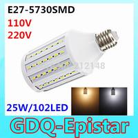 Free shipping 2x 25W 102LED 5730 SMD E27 Corn Bulb Light Maize Lamp LED Light Bulb Lamp LED Lighting Warm/Cool White