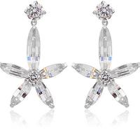 2014 new hot Platinum plating pentagram Zircon inlaid Korean Fashion earrings