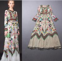 2014 new fashion appreal European women dress fashion show luxury Net yarn lace embroidered long dress S M L p103