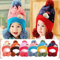 1 pcs Retail 2014 New Winter Hat For Baby Christmas Santa Claus Knitted Baby Hat Wool Beanie Cap 6 Colors 2206