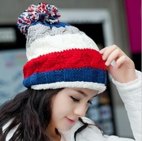 Lovely warm knitted hat women's brands 2014 Korean fashion hit color cute beanie knit winter cap free shipping promotion