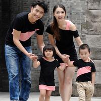 New Arrival!Free Shipping! 2014 summer short-sleeve T-shirt family fashion classic black dress