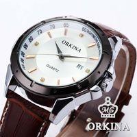 Vogue Orkina White Dial Stainless Steel Round Case Auto Date Display Coffee Leather Strap Analog Mens Wrist Quartz Watch /ORK080