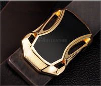 Free Shipping Genuine Leather Black Belt for Men #K013,  Classic Fashion Gold Belts Three Models