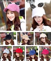 Women new winter lovely  rabbit long ears rabbit hair baseball cap
