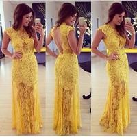 2014 Backless Sexy Yellow Lace Dress Vestido De Renda Slim Floor-Length Hollow Lace Maxi Dress For Party Evening Dresses D836A4W