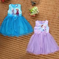 October Children clothing wholesale 31460 FROZEN elsa&anna Pretty Princess GIRLS Lotus bow gauze Dresses 5pcs/lot
