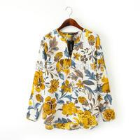 1607- European style 2014 new women's autumn leaves yellow V-neck T-shirt long-sleeved shirt printed blouse