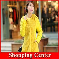 Freeshipping 2014 New Winter Rabbit Fur Down Jacket Sweet Lady Long Down Jacket Wholesale dropshipping