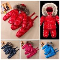 New style winter Down jacket SETS / baby down snowsuit set /child raccoon fur girls parka/ winter jackets boys