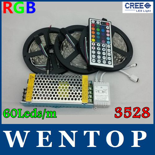 15M 3528 RGB 900Leds Led Flexible Light Strip and 44Key IR Controller and 12V 10A Power supply 60Leds/m Free shipping Discount(China (Mainland))
