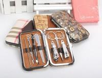 Stone Pattern Case+1 set 7pcs Nail Clipper Kit Nail Care Set Pedicure Scissor Tweezer Knife Ear pick Utility Manicure Set Tools