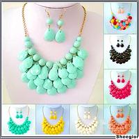 12 colors Fashion Acrylic Tassel Beads necklace women Bib Statement Necklaces pendants Dangle Earrings Cheap Jewelry set 2014