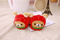 Plush cute 1 pair cartoon little bear become strawberry bread winter warm home floor slippers children holiday toy girl gift