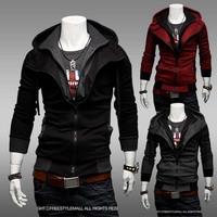 2014 New Casual Men Hooded long sleeve coat   men slim fashion jackets