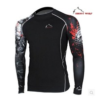 Ghost Wolf tights perspiration wicking long-sleeved T-shirt male sports fitness clothing JS016B