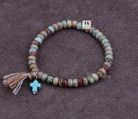 Natural Disc Shape Jasper with Turquoise Cross Tassel Stretched Bracelets Boho Elastic Bracelet Handmade Natural Stone Bracelet