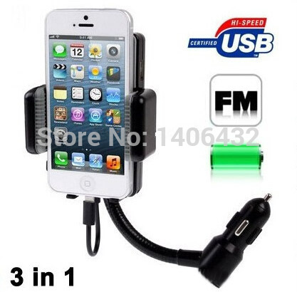 3.5mm AUX Cable LCD FM Transmitter With Car Holder Handsfree MP3 Player Car Charger For iPhone 5 5S 5C iPod Car Audio Kit(China (Mainland))