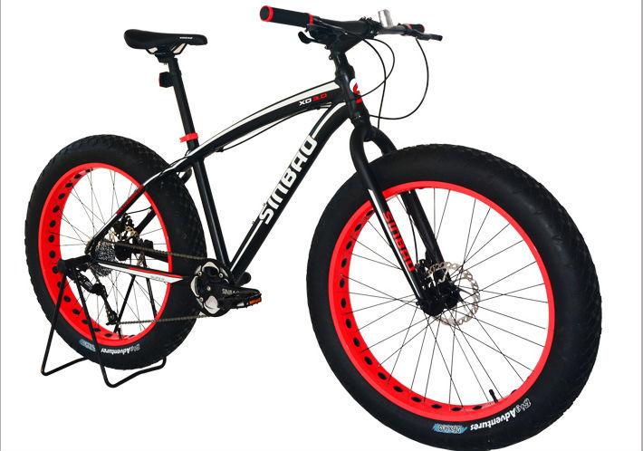 "Big Tire Snow Bike 26*17""Fat Tire Bike New Sram Groupset 27-speed Beach Cruiser Fatboy Bicycle White with colorful Rim(China (Mainland))"