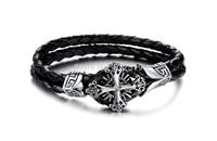 Lovejewelry Crystal Cubic Zirconia Leather Cross Stainless Steel  Bracelet For Women