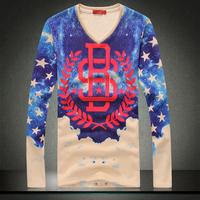 2014 winter new men t shirts with fleece high quality 3D Effect Long Sleeve velvet t shirts plus size 3XL t shirt men tops tees