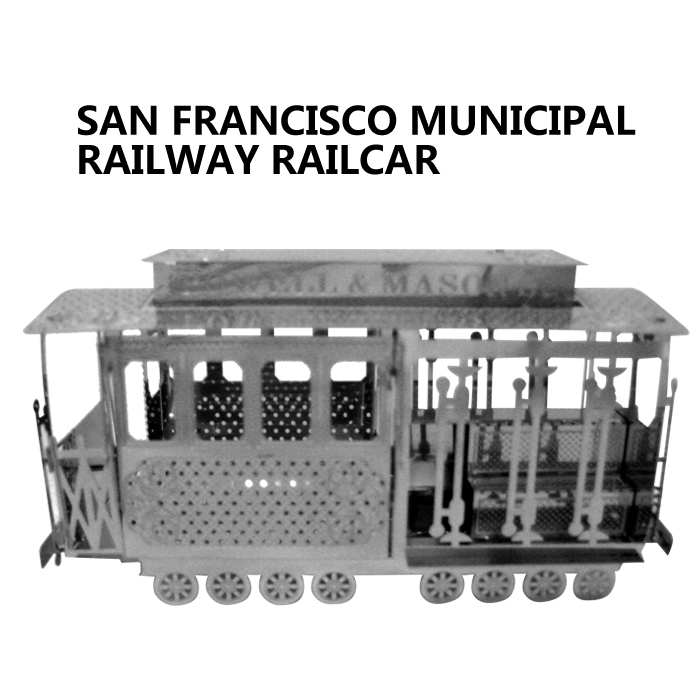 scale models toys minion San Francisco Municipal Railway railcar 3D steel metal scale models DIY model building solid puzzle(China (Mainland))
