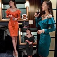 women's fashion Autumn Winter evening party club dresses, Ruffles Sexy slit bandage dress for women free shipping