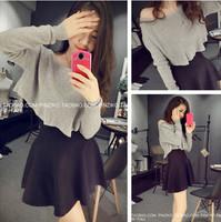 Set 2014 short design long-sleeve T-shirt high waist puff short  twinset one-piece dress female