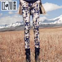 2014 flower trousers print casual pencil pants new winter influx of flower prints significantly thin pencil leg floral trousers
