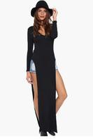 New Fashion Women Casual T-shirt Style Side Split Black Maxi Dress LC6738 Sexy Lady Dresses One Size Women Dress Drop Shop