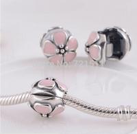 NEW 925 Sterling Silver Pink sakura Cherry Blossom Enamel Clip Charm Bead Fits European Pandora pendant Bracelets & Necklaces