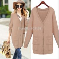 Newest Women All Match Cardigan Sweater Long Pattern V-Neck Thin Europena Style Autumn Winter Woolen Yarn Sweater