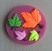 New Arrival Leaf Silicone 3D Flower Mold Fondant Cake Decorating Tools,Four Color Mould,  Silicone Soap Mold, Cooking Tools-S017