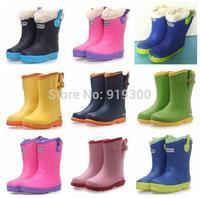 Hot New Children Boys Girls Fashion Rubber Rain Boots Flat Heels Anti-slip Rainboots Buckle Warm Water Shoes For Kids  #KS2