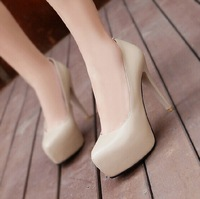 women's shoes high-top pumps new round waterproof shoes fine with nude color heels