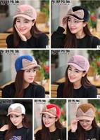 Women winter fashion butterfly knot rabbit hair cap