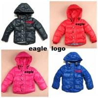 brand  boys girls down Hooded jacket  Thick Warm clothing children warm Eiderdown cotton coat
