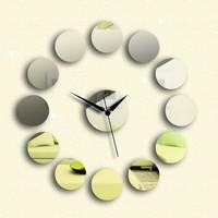 Mirror Wall Clock diy acrylic 3D mirror wall art home deocr tv background wall stickers