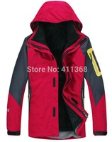 new 2014 brand fashion 2in1 double layer men's hiking sports coats outerwear winter outdoor waterproof climbing clothes jackets