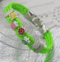 NEW Infinity Triple Wrap Rainbow Wristband Chains Enamel Beaded Leather Bracelets Bangles 17cm 19cm 21cm 57colors 12STYLEs Beads