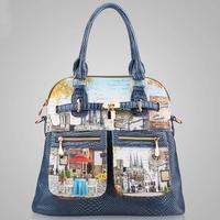 2015 Vintage bag Women PU Leather Handbag Fashion Women Messenger Bags New Crossbody Bag Oil Painting Shoulder Bag Tote Bolsas