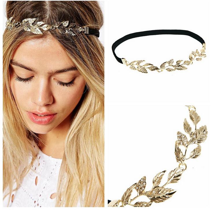 New Fashion Head Jewelry Headwear Olive Leaves Little Rhinestone Gold Headband Hair Accessory Women Hair Band Hairband GNT0015(China (Mainland))