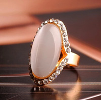 Promotion! Wholesale! Fashion lady women jewelry elegant all-match rhinestone and big oval opal luxury adjustable rings SR335