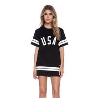 2014 American baseball Tee style long t shirts,women fashion USA letters printed striped loose dresses M-XXL black