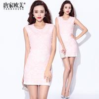 Fashion winter 2014 female sexy stereo all-match knitted sleeveless tank dress