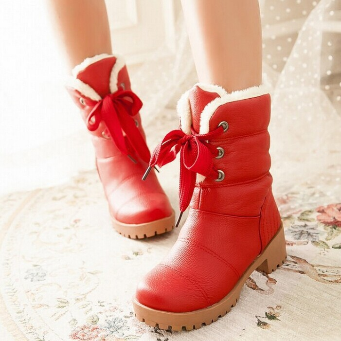 New cross straps square heel ankle boots fashion riding boots women warm plush fur boots USA 4-12 Drop shipping(China (Mainland))