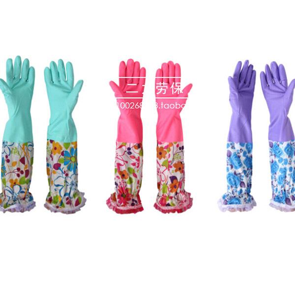 Free Shipping Velvet lengthen Waterproof Thickening Gloves Promotion Cleaning Dishwashing Glove(China (Mainland))