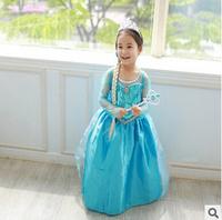2014 Frozen romantic princess dress children dress girl blue prom dress -8